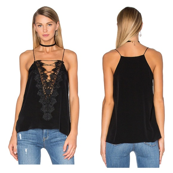 CAMI NYC The Charlie Cami Black Velvet Lace Up